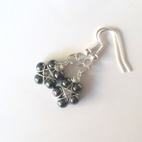 Handmade Silver Plated Hematite Wire Wrapped Pentagram Earrings. Pentacle Earrings, Wiccan Jewelry, Pagan Symbol