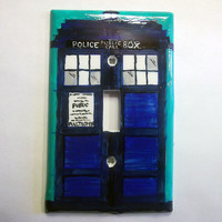 Tardis Police Box Who Inspired Light Switch Plate by trophies