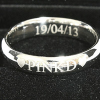 Engraved Ring Personalized Ring .925 Sterling Silver Ring Curve 6 mm width