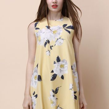 Dulcet Peonies Shift Dress in Yellow