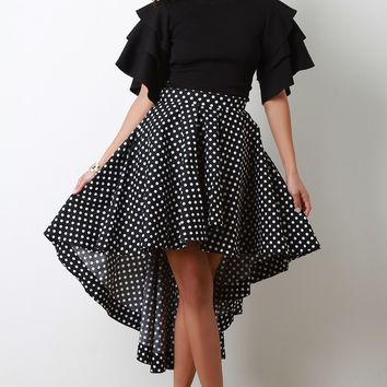 Polka Dot A-Line High Low Skirt