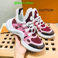 LV Louis Vuitton Men 2019 New Fashion Casual Leisure Sneakers Running Sport pink Shoes Best Quality