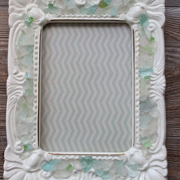 Sea Glass Embellished Ornate Ivory Picture Frame Perfect Beach Wedding / Shower Gift , Coastal Home Decor
