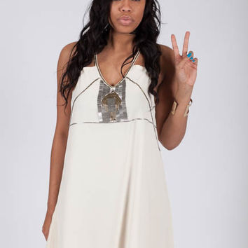 Beaded Breakthrough Ivory Strappy Dress