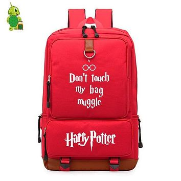 Student Backpack Children Red Harry Potter Magical Backpack Don't Touch My Bag Muggle Prints Laptop Backpack for Teenagers Students Large School Bags AT_49_3