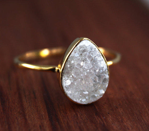Druzy Ring Teardrop Shape Stacking Ring From Ohkuol On Etsy