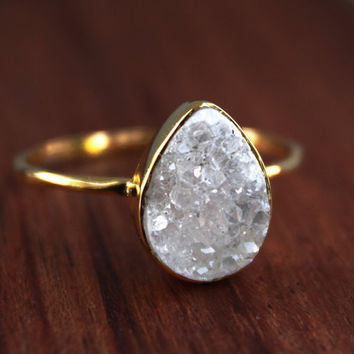Druzy Ring Teardrop Shape Stacking Ring by OhKuol on Etsy