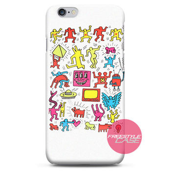Keith Haring White Collage iPhone Case 3, 4, 5, 6 Cover