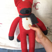 "Handmade Red Fox socks doll 16.5"" with Gray scarf and wood botton for any children gift"