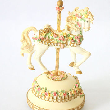 """Carousel Horse Musical Box By San Francisco Music Box Company. Tune """"Memory"""" By Andrew Lloyd Webber"""