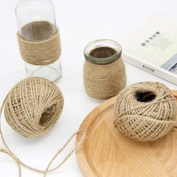 1 Roll 30M Natural Burlap Hessian Jute Twine Wedding Decoration Jute Twine Rope Gift Packing String Halloween Party Decoration