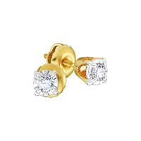 14k Two Tone 0.15Ctw Round Diamond Ladies Fashion Cluster Earrings: Earrings