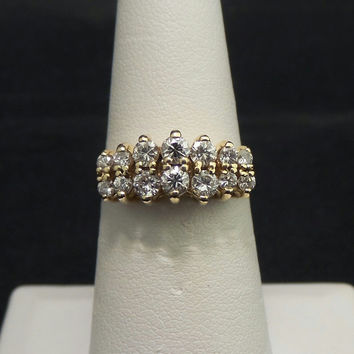 Solid 14K Yellow Gold 1.00 ctw Genuine Diamond Cathedral Anniversary Ring - Size 7