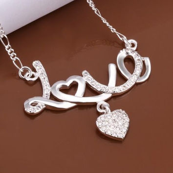 Women 925Sterling Silver Plated Necklace Love Pendant Heart Crystal Charm Chain