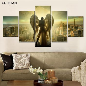 Angel over looking City Salvation Five Piece Canvas