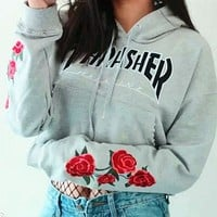 Thrasher Cami Crop Flower Print Hooded Top Sweater Pullover Hoodie