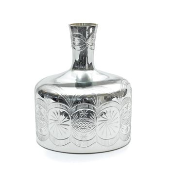 Glass Bag Vase with Antique Silvered