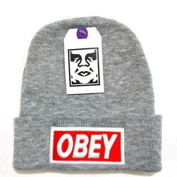 One-nice™ Perfect Obey Women Men Embroidery Beanies Knit Wool Hat Cap