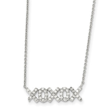 Sterling Silver Polished CZ XOXOX Necklace QG3722