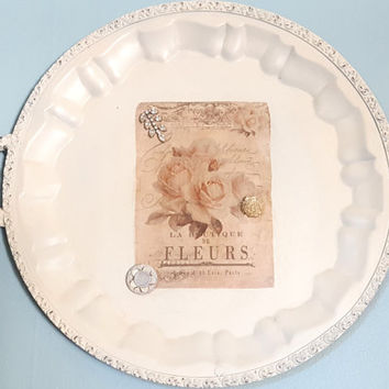 Vintage Silver Plate Tray Painted Ivory Antique White Decoupage Rose French Distressed