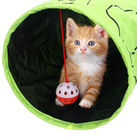 Pet Tunnel Cat Printed Green Lovely Crinkly Kitten Tunnel Toy With Ball  (Size: M, Color: Green) = 1715216708