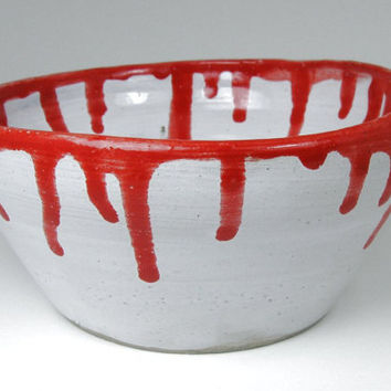 Bloody Bowl Gothic Hand Thrown Pottery Hand by HumphreysHandmade