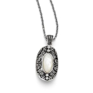 Stainless Steel Mother of Pearl and Crystal Antiqued Necklace