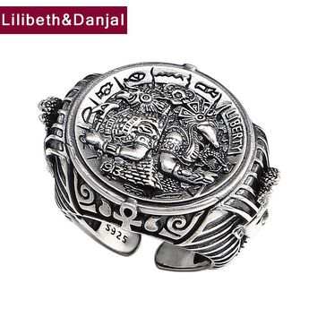 Punk Opening Ring 100% Real 925 Sterling Silver Jewelry For Men Women Vintage Ethnic Warrior Adjustable Ring 2018 Arrival FR108