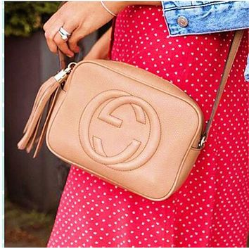 GUCCI fashion casual ladies fringe double G embossed small shoulder bag