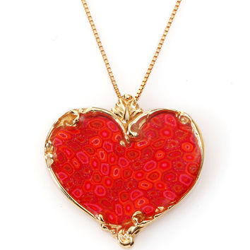 Heart Shape Romantic Pendant Necklace - Coral Millefiori Pattern - Israeli Jewelry Design - FREE SHIPPING