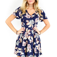 The Greatest Navy Short Sleeve Floral Print Dress