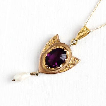 Antique Gold Tone Lavalier Pendant Necklace - Early 1900s Art Nouveau Edwardian Simulated Amethyst & Baroque Pearl Dangle Shield Jewelry