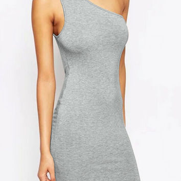 Light Grey One Shoulder Bodycon Mini Dress