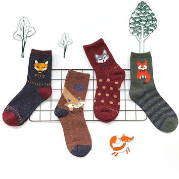 Korean thick wool cotton women girl crew socks autumn winter of Harajuku animal Fox Wolf striped sox brand lovely cute christmas