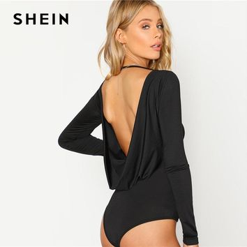 SHEIN Black Backless Solid Skinny Bodysuit Round Neck Open Back Long Sleeve Draped Plain Women Rompers  Sexy Bodysuit