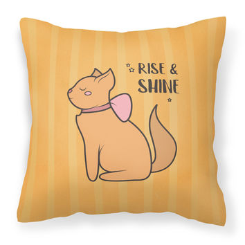 Nursery Rise and Shine Cat Fabric Decorative Pillow BB7473PW1414
