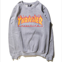 """""""Thrasher""""Couple Casual Pattern Letter Print Loose Blouse Top Sweater Pullover Sweatshirt"""