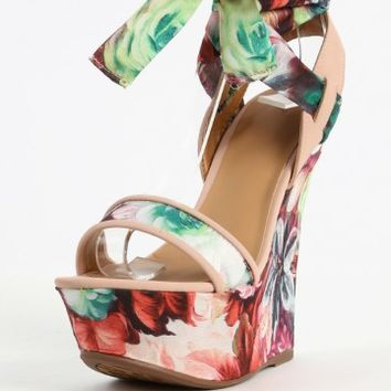Dollhouse Floral Leg Wrap Wedge Sandals | MakeMeChic.com