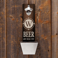 Personalized Wall Mounted Bottle Opener - Beer