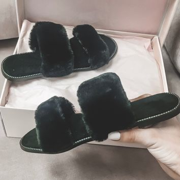 Miss Me Black Furry Slipper Slides
