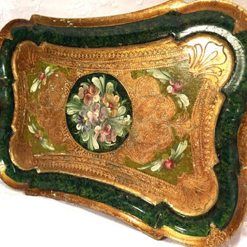 Vintage Floral Florentine Serving Tray Signed Decorazione Artistica Coppini Ugo Shabby Chic Home Decor Vanity