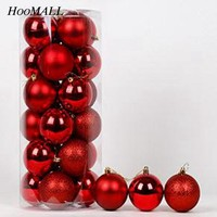 Hoomall 1Barrel   Hanging Ornaments Christmas Balls New Year Decoration Party Supplies Handmade Christmas Tree Decorations DIY
