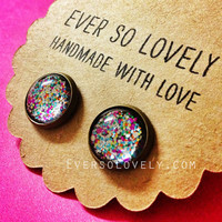 summer nights and starry skies - handmade pink confetti sparkly metallic nickel free post earrings