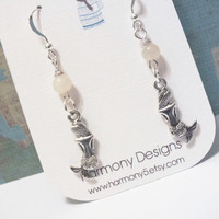 Mermaid Moonstone Sterling Silver Dangle Earrings