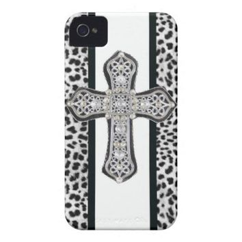 Animal print Rhinestone crusted Cross Iphone Case Iphone 4 Cases from Zazzle.com