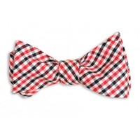 Red and Black Tattersall Bow Tie by High Cotton