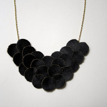 Black Leather Bib Necklace, Circle Necklace