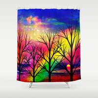 rainbow sunset Shower Curtain by Haroulita