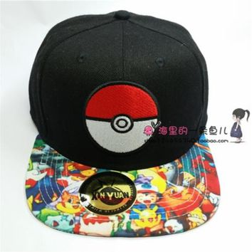 Pocket Monsters Poke Ball Ourdoors Embroided Snapback Hat Adjustable Baseball Caps
