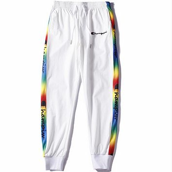 Champion 2018 autumn and winter men's casual trousers colorful string embroidery casual pants F0592-1 White